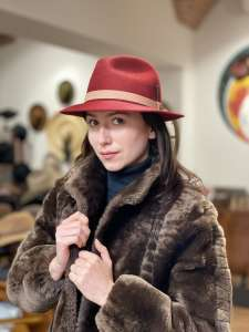 Fedora, Bailey Coates Winesap, Burgundy, Elite Felt