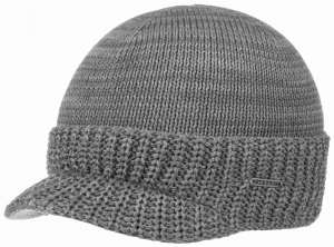 Beanie Cotton Knit, Grey with Visor