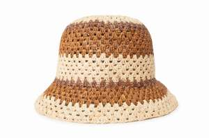 Essex Raffia, Tan/ Brown Bucket Hat by Brixton