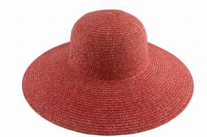 Capeline 100% straw with large brim, Red