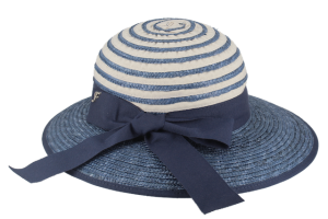 Elegant straw and cotton hat for women, blue