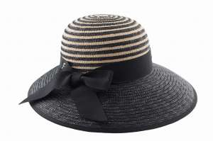 Elegant straw and cotton hat for women, black