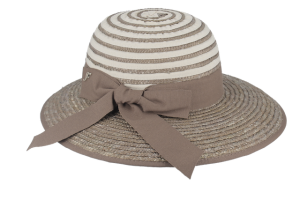 Elegant straw and cotton hat for women, grey