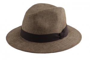Fedora Fléchet Linen with medium edge,  taupe, brown ribbon