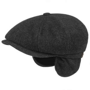 Stetson Hatteras wool and cashmere cap with ear flaps, dark gray