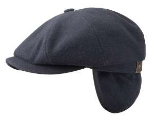 Stetson Hatteras wool and cashmere cap with ear flaps, navy