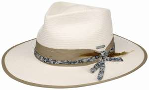 Light beige summer hat with feather, Outdoor Toyo Stetson