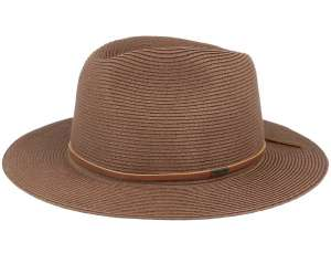 Braun summer hat, Wesley Straw Packable Fedora Dark Brown