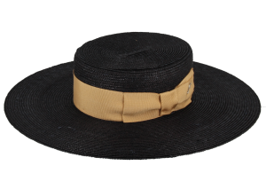 Black straw boater, mustard ribbon by Fléchet