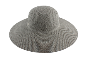 Capeline 100% paper straw with large brim, grey